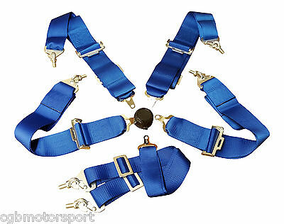 """Renault 5 Turbo Harness Seat Belt 3"""" 4 / 5 / 6 Point Fixing Blue Quick Release"""