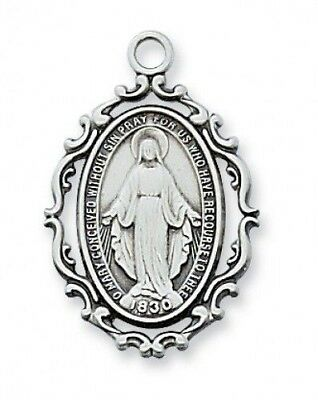 "IVL 1"" Womens Sterling Silver Antique Style Immaculate Miraculous Mary Medal"
