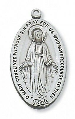 "IVL 1 1/4"" Mens Sterling Silver Oval Pray For Us Miraculous Virgin Mary Medal"