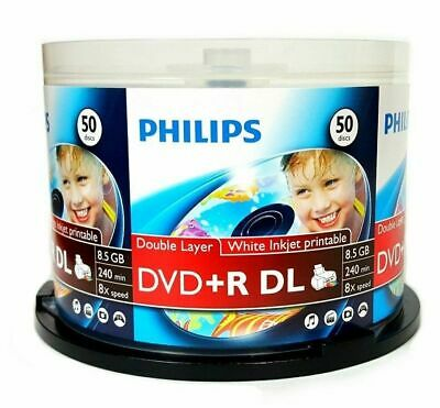 50 Philips 8X DVD+R DL Dual Layer White Inkjet Hub Printable Blank Media Discs
