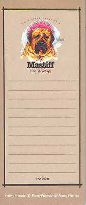 MASTIFF One Big Baby Funny Friends Magnetic NOTEPAD List Pad