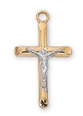 "IVL 3/4"" Womens Gold Sterling Silver Tu Tone Tapered Edge Cross Crucifix Pendant"