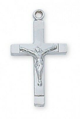 "IVL 3/4"" Womens .925 Sterling Silver Square Edge Cross Christ Crucifix Pendant"