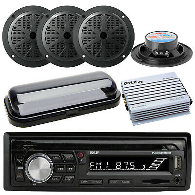 "New Kenwood Marine CD MP3 USB Input AM/FM Stereo 4 x 4"" Speakers /800W Amp Cover"