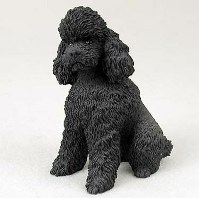 Poodle Hand Painted Dog Figurine Statue Black Sport