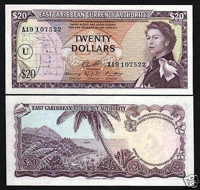 EAST CARIBBEAN STATES $20 P15V 1965 QUEEN BOAT UNC CARIBBEAN BANK NOTE GB UK