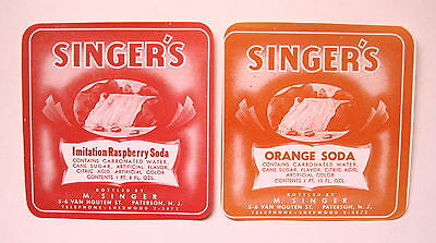 2 SINGER'S Orange Soda & Raspberry Soda Labels Paterson NJ - FREE Shipping