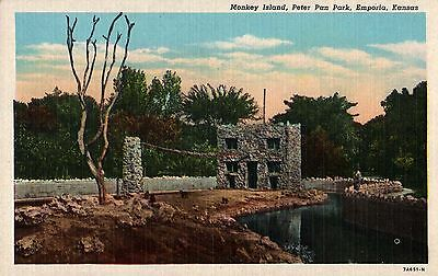 Old postcard MONKEY ISLAND Peter Pan Park Emporia Kansas new old stock n-mint+