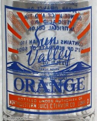 Vintage soda pop bottle SUN VALLEY ORANGE 1939 Swallow Lima Ohio unused n-mint+