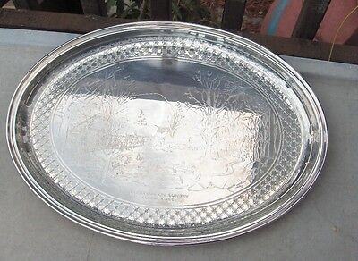 Vintage Gorham Silver Plate Oval Tray Currier & Ives Sleighing On A Sunday RARE