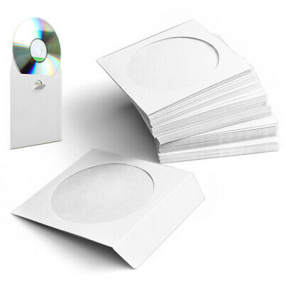 White Paper CD DVD Sleeves Envelope with Clear Window Cut Out and Flap 100 Pack