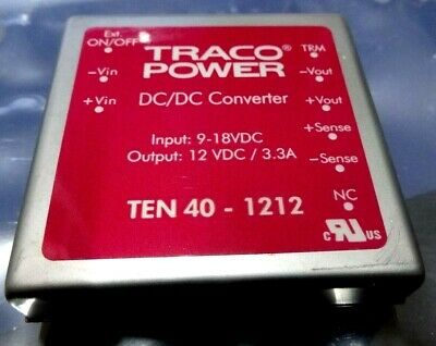 TRACOPOWER  TEN 40-1212 DC/DC CONVERTER 40W 9 to 18v in  12V/3.3A out half price