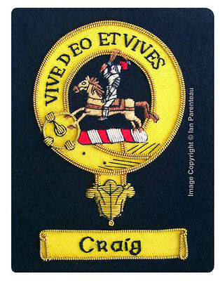 Craig Family Crest Hand Embroidered Sew-On Blazer Badge