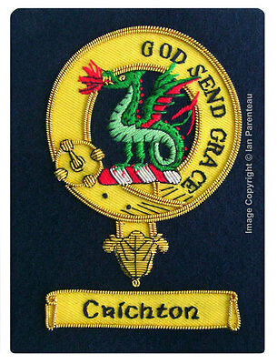 Crichton Family Crest Hand Embroidered Sew-On Blazer Badge
