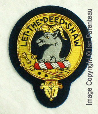 Fleming Family Crest Hand Embroidered Sew-On Cap Badge