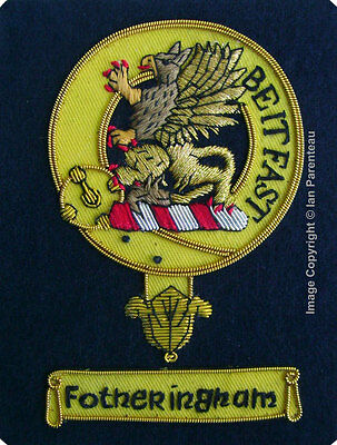 Fotheringham Family Crest Hand Embroidered Sew-On Blazer Badge