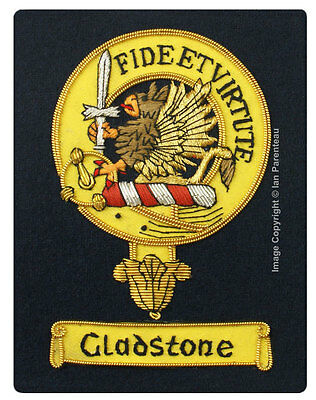 Gladstone Family Crest Hand Embroidered Sew-On Blazer Badge