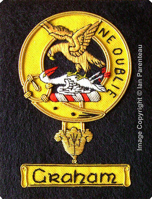 Graham Family Crest Hand Embroidered Sew-On Blazer Badge