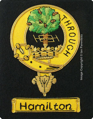 Hamilton Family Crest Hand Embroidered Sew-On Blazer Badge