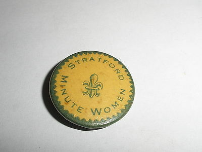 Rare Original Antique Stratford Minute Women Fleur De Lis Pin Button  Pinback