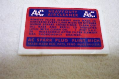 1936-42 Buick A//C Air Cleaner Oil Wetted Decal,NEW