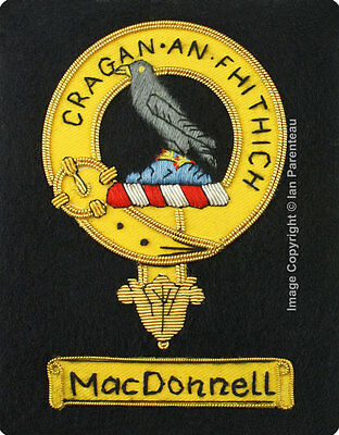 MacDonnell Family Crest Hand Embroidered Sew-On Blazer Badge