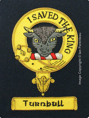 Turnbull Family Crest Hand Embroidered Sew-On Blazer Badge