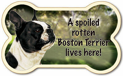#84-106 Boston Terrier Dog Bone Shaped Flexible Magnet W/Free USA Shipping - New