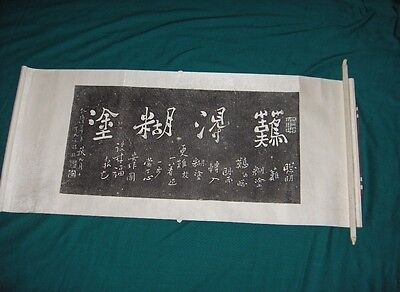 Vintage Asian Chinese Scroll Calligraphy Art Painting White On Black 110 Signed