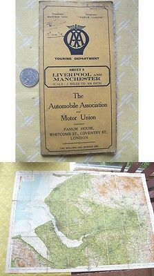 Vintage Map,LIVERPOOL & MANCHESTER,UK,Automobile Assoc.,Motor Union,Sheet 8