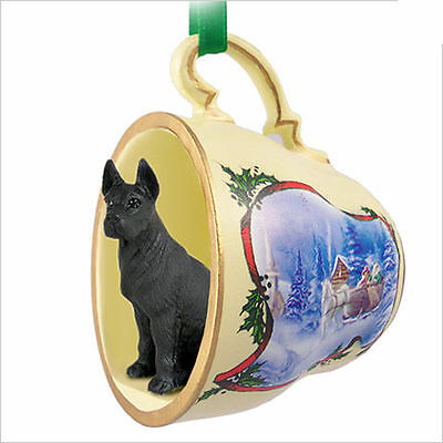 Great Dane Dog Christmas Holiday Teacup Sleigh Ornament Figurine Black