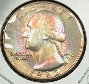 1968-D    CHOICE  BU    WASHINGTON  25c--RAINBOW