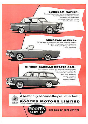 Sunbeam Rapier, Alpine & Singer Gazelle Estate Retro A3 Poster Print From Advert