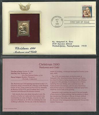 # 2514 CHRISTMAS, Madonna and Child. 1990 Gold Foil First Day Cover
