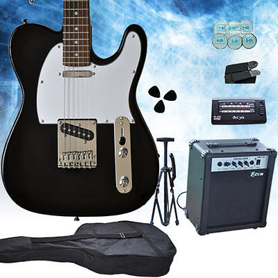 Black/White TL Multiple Pickup Electric Guitar With Guitar Amp Set