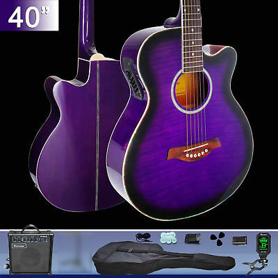 40-inch Cutaway Electric Acoustic Guitar With Gutar Tuner Belt Bag