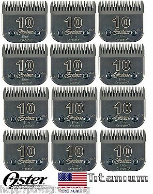 LOT 12 Oster ELITE TITANIUM CryogenX 10 Blade*Fit Most Andis,Wahl A5 AG Clippers
