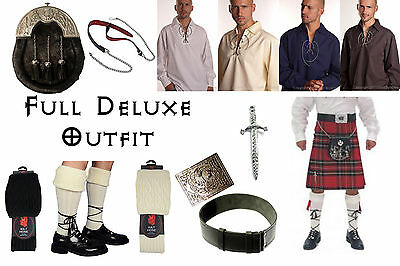 8 Yard Scottish Kilt Package, Complete Deluxe Casual Outfit, Stewart Royal