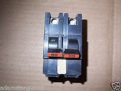 FEDERAL PACIFIC FPE NA NA260 2 POLE 60 AMP Circuit BREAKER CHIPPED