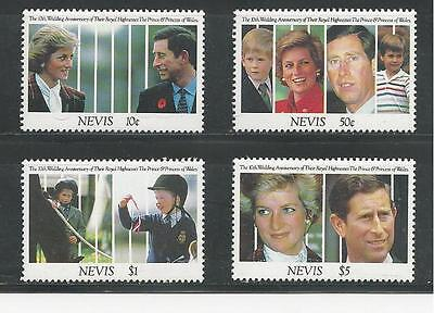 Nevis  # 666 // 673, Mnh 10Th Royal Wedding Anniversary, Charles And Diana