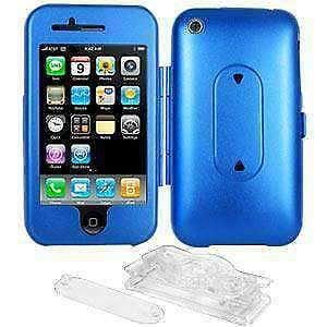 Amzer Aluminum  Hard Case with Stand For Apple  iPhone 3G S - Blue
