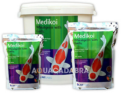 NT LABS MEDIKOI WHEATGERM GARLIC 3mm 6mm PELLET FISH FOOD POND KOI STURGEON