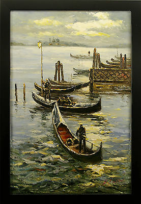 Gondola River Evening Reflection Venice Italy Boat at Dock - FRAMED OIL PAINTING