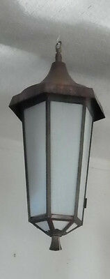 Antique Copper Hexagon Lanter Lights With White Glass 30323