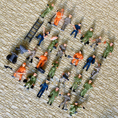 50 pcs HO scale Railway Workers / working Figures ( 25 poses)  Painted staff