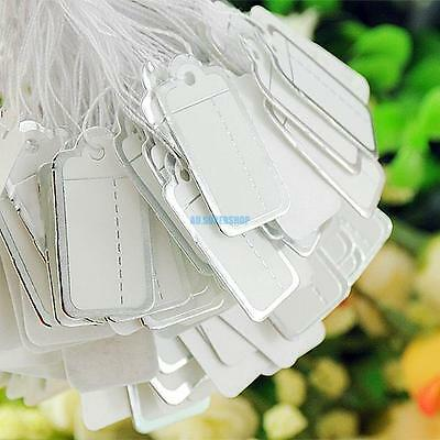 500pc White Label Silver Border Tie-on Jewelry Price Tags Tag With String