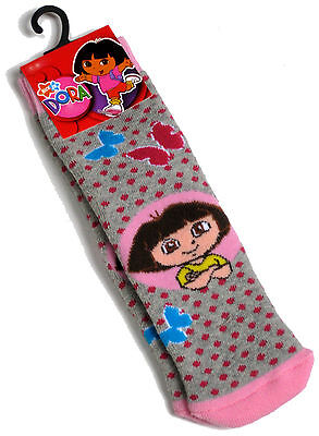 Young Girls Dora The Explorer Grey Pink  Slipper Socks Size 9-12 New