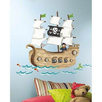 New Giant PIRATE SHIP WALL DECALS Boys Baby Nursery Stickers Kids Bedroom Decor