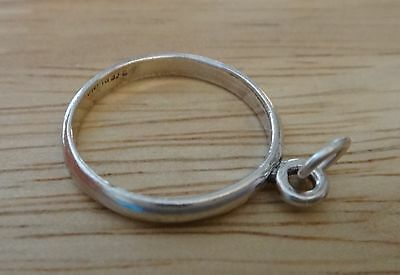 size 3.25 Sterling Silver plain Band Charm 2mm Ring to Add a Charm