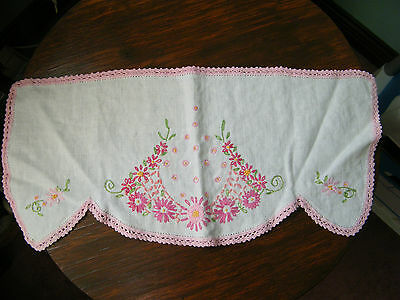Embroidered Doily Table Linen White Pink Crochet Trim Pinks 18 x 8 Inch NICE